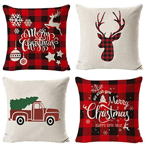 Christmas Pillow Covers 18x18, Christmas Throw Pillow Covers 18x18 with Buffalo Plaid, Decorative Pillow Covers for Home Farmhouse Decor Set of 4 Red