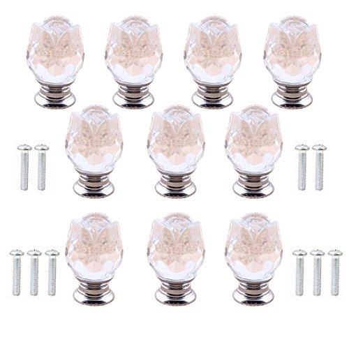 10pcs 25MM (1 pollice) Pomelli per porte in cristallo trasparente a forma di rosa - Manopole per cassetti in cristallo/Maniglie per armadietti