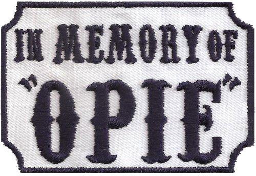Patches Aufnäher SOA in Memory of OPIE Sons of Anarchy Biker Rankpatch Samcro Men of Mayhem Motorcycle Club DIY Aufbügler Motorrad Abzeichen zum aufbügeln Aufkleber Applikation Iron on Patch 90x60mm