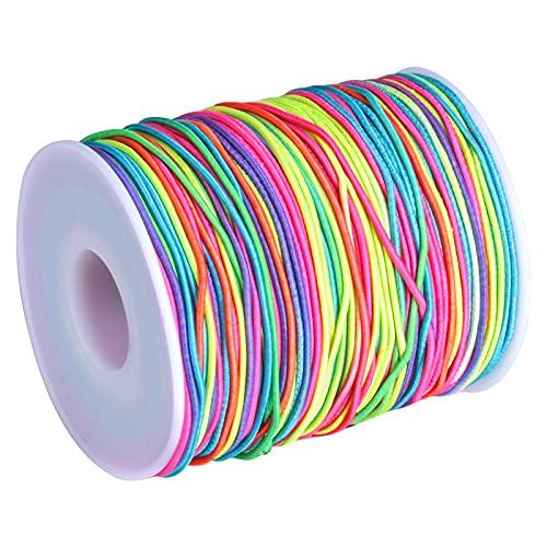 1 Rollo 85m Línea Elástica, 1.2mm Cordón Elástico Hilo Elástico Cuerda Colores Arcoiris Cuerda Elástica Cuerda para Pulseras, Cuerda de Abalorios para Tejer Manualidades DIY Abalorios Pulsera Collar