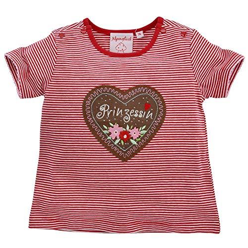 Baby-T-Shirt 'Prinzessin' aus Baumwolle Gr. 86 I Schönes Mädchen-T-Shirt in Rot-Weiß I T-Shirt für Babys, Geringelt & mit Prinzessinnen-Print I Shirt aus Stretch
