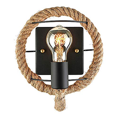 Raxinbang Luces de Pared Lámpara de Pared Estilo Minimalista/Retro/Retro/Retro de Estilo Mini/lámpara de Pared Sala de Estar/Restaurante lámpara de Pared de Cuerda de cáñamo