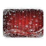 ZOMOY Tapis de Bain,Noël Flocon de Neige pétales Perle Suspendus rêve à Pois thème Joyeux Joyeux,Tapis de Sol antidérapant pour Salle de Bain / Porte / Cuisine Super Doux Absorbant l'eau