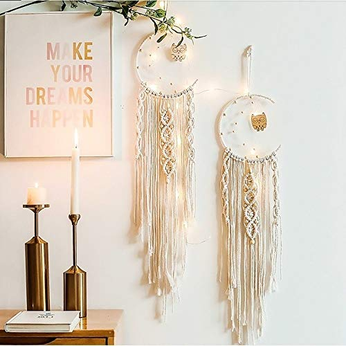 SYLHLW Dream Catcher, Handmade Owl Moon Star Dream Catcher, Wall Hanging Decor Home Decor, Gifts for mom, Gifts for Friends, Gifts for Women, Christmas, Festival Decoration (Owl)