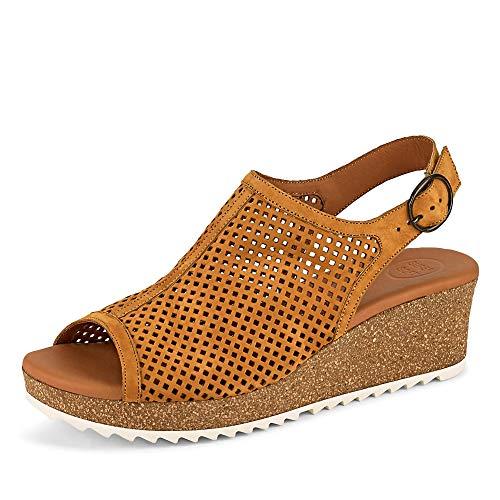 Gebrüder Götz Paul Green 7566 Damen Sandale aus Leder mit Keilabsatz Schnalle und Lochung, Groesse 41 1/2, gelb