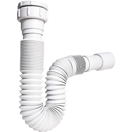 """Sifón Extensible ABS Blanco. Sifón Compatible para Lavabo, bide. Sifón con Entrada de 1"""" 1/4 o 1"""" 1/2 diámetro y Salida de 32-40"""