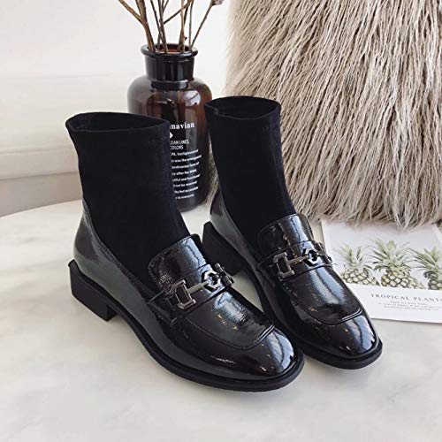 Shukun enkellaarzen herfst en winter vrouwen booties ruimte met metalen gesp Retro elastische schoenen mode Wild Martin laarzen