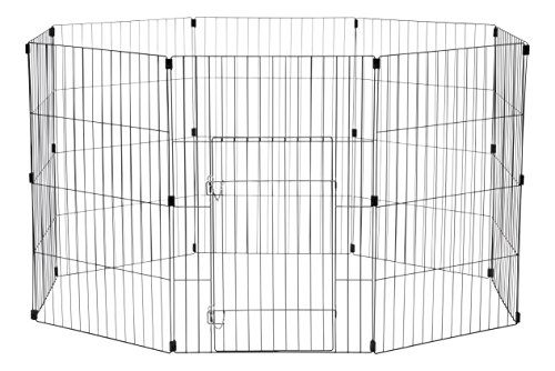 Iris Ohyama, parque para perros / jaula exterior / recinto / perrera - Wire Pet Circle - 36 pulgadas, epoxi, negro, 1.5m ², 60 x 91 cm
