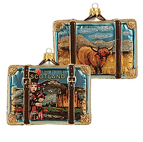 Scotland Suitcase Highland Cow and Bagpipe Polish Glass Christmas Ornament Travel Souvenir Decoration 069