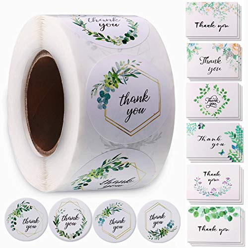 500 Pieces Thank You Roll Stickers and 18 Thank You Cards with Envelopes, 1.5 Inch Greenery Circle Labels with 4 Alternative Designs Greeting Cards with 6 Designs for Thanksgiving Baby Shower Weddings