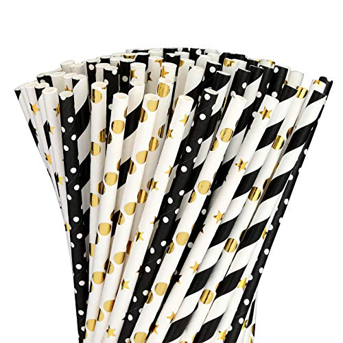 Paper straws for drinking disposable biodegradable cocktail straws perfect for Birthday Party Supplies  Baby shower WeddingBridal Holiday Decoration Gexolenu Black Gold 200pcspack