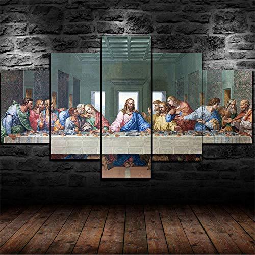 IIIUHU Mural Moderno 5 Piezas,Última Cena Cristiana Jesucristo,Cuadros Decoracion Salon,No Tejido Lienzo Impresión, Modular Poster Mural, Listo para Colgar