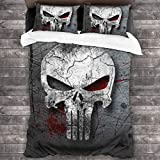 LuWeiHaiShen Luxury Three-Piece Quilt, Four Seasons Duvet Cover, Suitable for Bedding in Spring and Summer, Bedding in Winter Skull Punisher