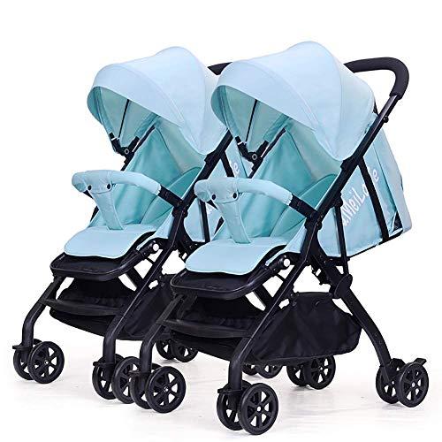 QQ LONG Doppelter Kinderwagen-Sommer-kleines Regenschirm-Auto Abnehmbarer Leichter faltender doppelter Baby-Strolle,B