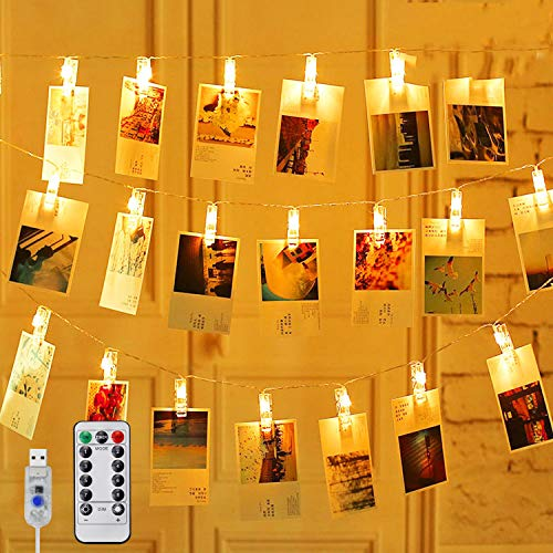 Hezbjiti 60 LED Photo Clip String Lights, 8M Photo Peg Fairy Lights with 60 Clips 8 Modes Remote & Timer, USB Plug in Hanging Photo Lights for Bedroom Home Party Wedding Birthday Christmas Decorations
