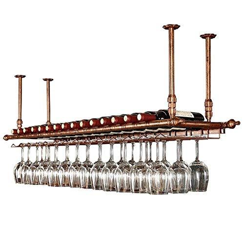 Estante de techo para colgar copas de vino, soporte de guarnición, altura ajustable, estante de decoración para bares, restaurantes, cocinas, bronce
