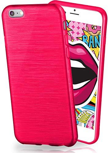 moex Stylische Brushed Aluminium-Optik und starker Grip | Ultra dünne Silikonhülle passend für iPhone 7 / iPhone 8 in Pink