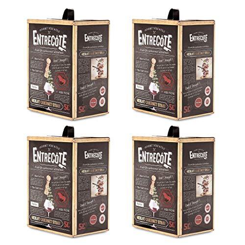 Bag-in-Box - 2019 Merlot Cabernet Syrah - ENTRECOTE - Frankreich - - Rotwein, lieblich, Box mit:4 Boxen