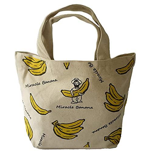 テクノプライム 装飾雑貨(ファッション小物) ホワイト 30cm アンドパッカブル ランチバッグ トートバッグ バナナ 62939