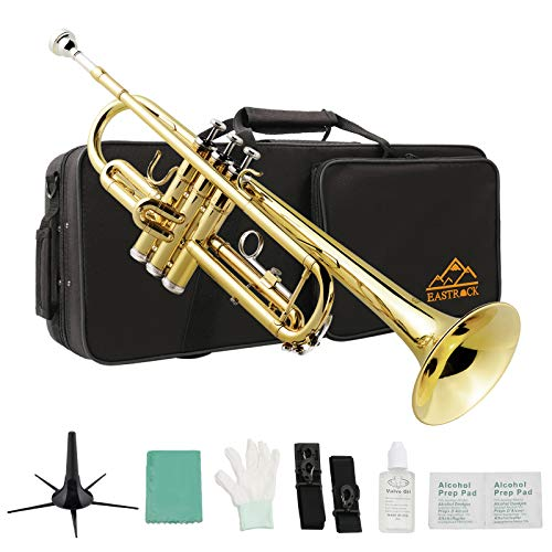 Eastrock Gold Brass Standard Bb Trumpet Instrument with Hard Case,Five Legs Trumpet Stand,Gloves, 7C Mouthpiece, Valve Oil and Trumpet Cleaning Kit for Student Beginner