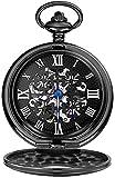 N/ A Relojes de Bolsillo y de Bolsillo para Hombre Trébol de Cuatro Hojas Negro Perspectiva de Cuerda Manual Cubierta Inferior Reloj de Bolsillo mecánico Un Buen Regalo