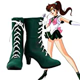 BELUNOT Anime Sailor Moon Sailor Jupiter Kino Makoto Cosplay Shoes Green Fancy Short Boots Custom-Made 41