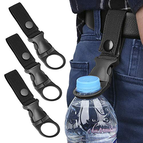 Katosca 3Pcs Bottle Hanging Buckle Clip Outdoor Portable Water Bottle Ring Holder Mineral Water Bottle Clip for Backpack Belt Belt Outdoor Camping Hiking Mountaineering Traveling(Black)