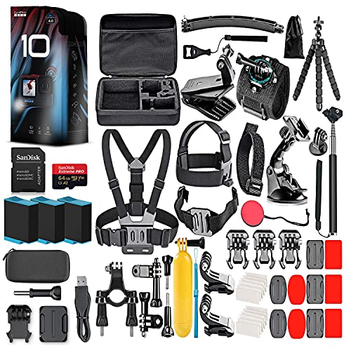 GoPro HERO10 (Hero 10) Black - Waterproof Action Camera with Front LCD and Touch Rear Screens, GP2 Engine, 5K HD, 23MP Photos, Live Streaming, 64GB Card, 50 Piece Accessory Kit and 2 Extra Batteries