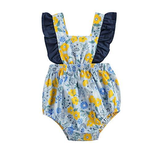 Bebé recién nacido mameluco estampado floral manga mosca mono niña de una sola pieza ropa de verano