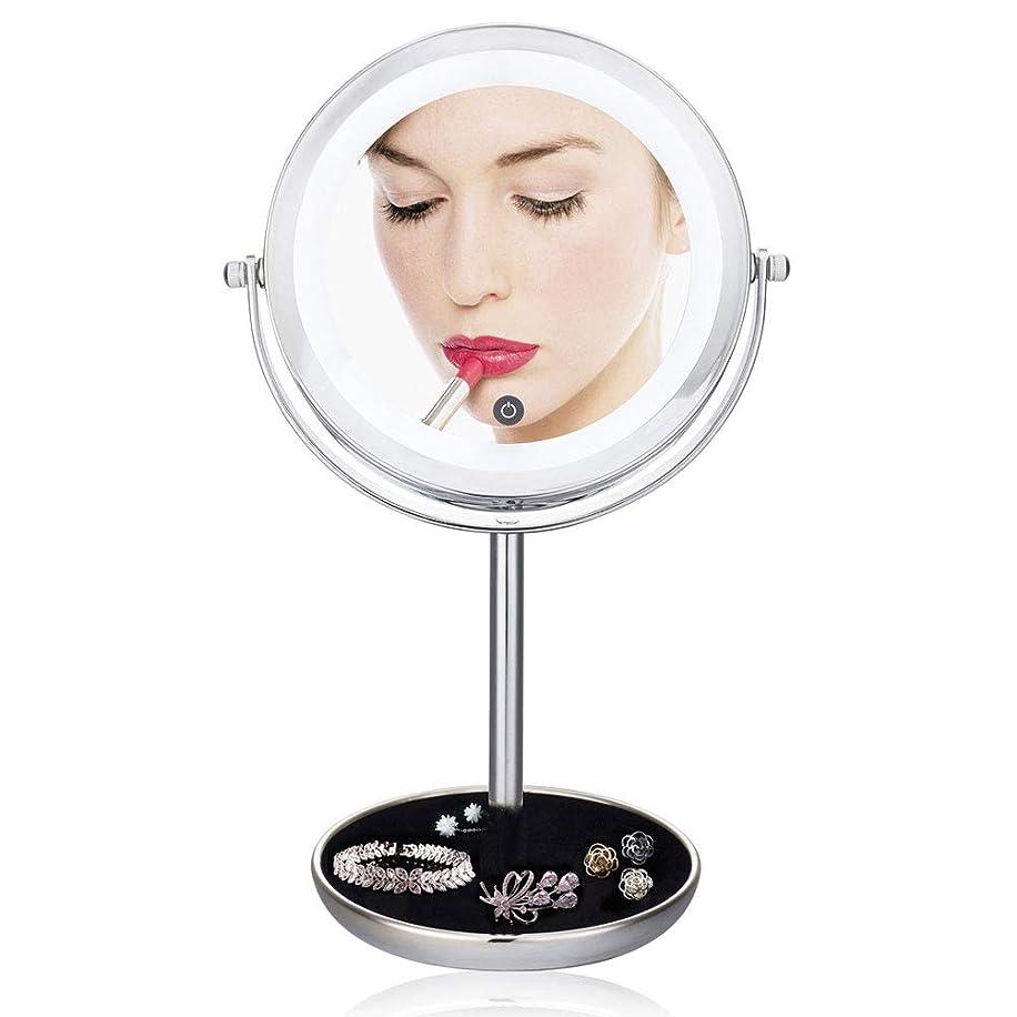 擬人ウォーターフロント科学者LED化粧鏡、照明付き化粧台回転鏡1倍/ 5倍拡大両面ミラー(調光スイッチ)ベースを収納可能