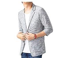ジェネレス ジャケット 夏 カジュアル サマージャケット テーラードジャケット 7分袖 メンズ リップル・グレー M