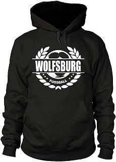 shirtloge Wolfsburg - Fussball Lorbeerkranz - Fan Kapuzenpullover - Größe S - 3XL