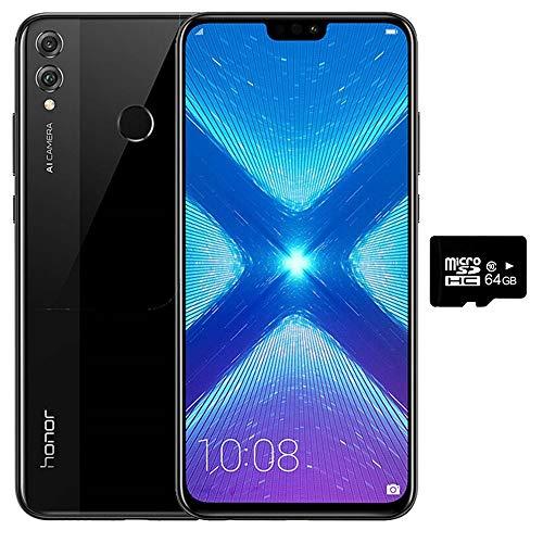 Honor 8X (64GB + 64GB SD) 6.5' HD, US + Global 4G LTE Dual SIM GSM Factory Unlocked Smartphone - International Version JSN-L23 (Black)
