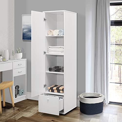 Kings Brand Furniture - Corry Wardrobe Armoire Closet, Tall Storage Cabinet, White