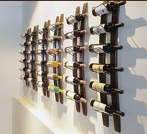 Linex Botellero de pared | Botellero de madera para 6 botellas de vino de madera, estante de vino en la pared para el hogar