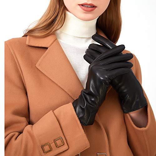 ZLUXURQ Damen Leder Handschuhe echtes Lammleder und mit Kaschmir Wolle gefütterte warme Winter Handschuhe