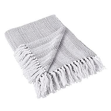DII Rustic Farmhouse Throw Blanket with Decorative Tassles, Use For Chair, Couch, Bed, Picnic, Camping, Beach, & Just Staying Cozy At Home (50 x 60 ), Herringbone Stripe Gray