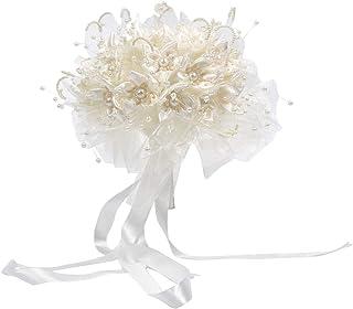 Enerhu Flower Bridal Bouquet Pearls Silk Lace Bouquet Romantic Beige Wedding Decor