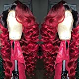 13x6 Lace Front Wig Brazilian Virgin Human Hair Lace Front Wigs 150% Density Natural Color and Ombre 1B/Red Body Wave for Women (20 inch 150% density, Lace front wig)