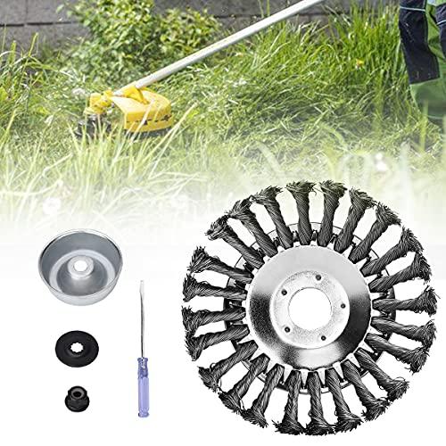 DrRobor Cepillo Redondo para Desbrozadora de 150 x 25,4 mm, Cabezal de Cepillo Alambre para Jardín, Camino de Ladrillos, Juntas de Pavimento