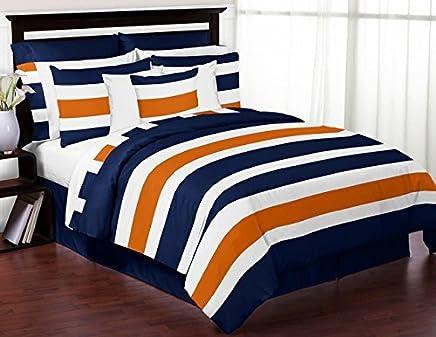 Sweet Jojo Designs 3-Piece Navy Blue,  Orange and White Childrens,  Teen Full/Queen Boys Stripe Bedding Set Collection
