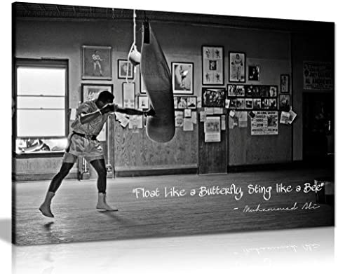 Panther Print Large Canvas in Black and White Champion Quote Muhammad Ali Float Like a Butterfly product image