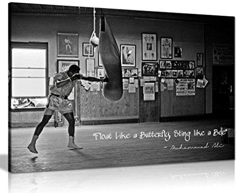 Panther Print Kunstdruck auf Leinwand, Motiv Muhammad Ali Champion Float Like A Butterfly (30 x 20 cm), Schwarz/Weiß