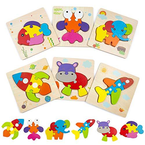 Comius Sharp Puzzles de Madera, 6 Piezas De Madera Rompecabezas Set, Puzzles Infantiles de Madera Juguetes Educativos Niños, Habilidad Motora Fina Juego de Regalo Educativo Preescolar de Aprendizaje