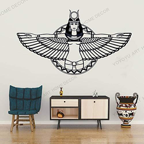 JXMN DIY Personalizado 111x63cm Arte Pegatinas de Pared Antiguo Egipto Reina Egipto alas Pegatinas Dormitorio Sala de Estar decoración del hogar Vinilo Mural