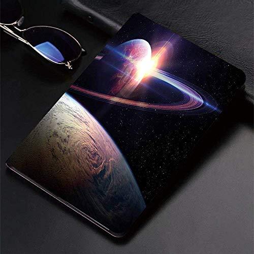Funda para iPad (24.638, Modelo 2018/2017, 6.a / 5.a generación) Funda Inteligente ultradelgada y Ligera, Galaxy Sunset in Outer Space Universe Vista de Saturno Desde el Planeta Tierra Atmosph, Smart