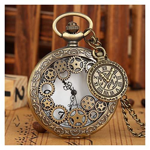 OYPY Anillas de Cobre de la Vendimia Antigua de Steampunk del Hueco del Bronce del Engranaje del Reloj de Bolsillo del Cuarzo del Colgante del Collar del Reloj Mujeres de los Hombres con el Accesorio
