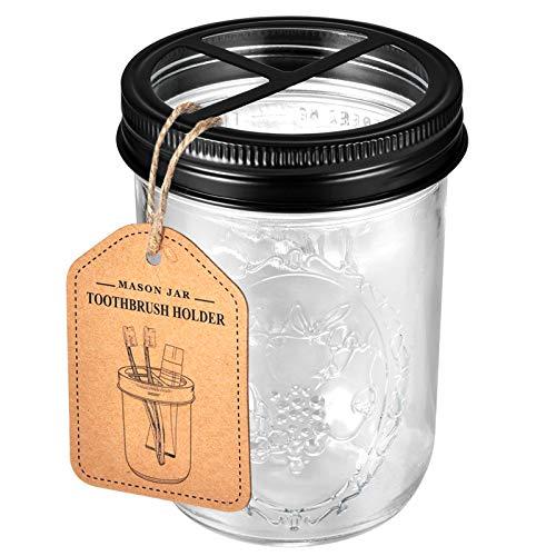 Andrew & Sarah Mason Jar Toothbrush Holder -Black - with 16 Ounce Ball Mason Jar,Premium Rustproof 304 Stainless Steel Lid and Chalkboard Labels - Rustic Farmhouse Decor Black Bathroom Accessories