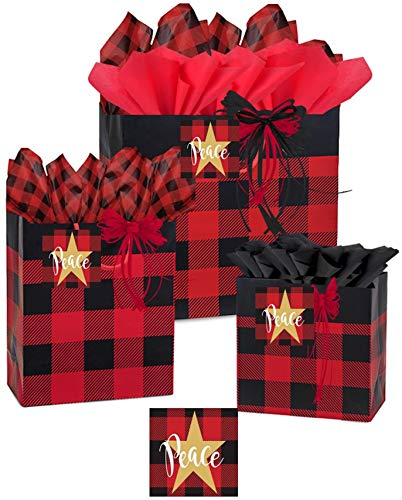 Buffalo Gift Bags with Handles - Gift Bags with Matching Tissue Paper and Gift Tag | Present Bag | All Included Matching Gift Wrap | Gift Bag Small Medium Large (RED Buffalo Plaid) -  Gift Baskets by Debbie