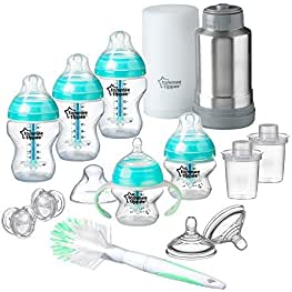 Tommee Tippee Advanced Anti-Colic Newborn Baby Bottle Feeding Gift Set, Heat Sensing Technology,...